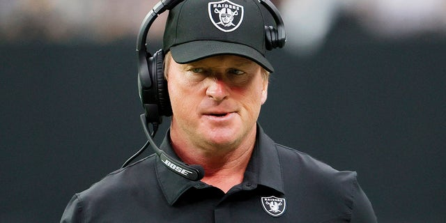 Head coach John Gruden of the Las Vegas Raiders reacts during the first half against the Chicago Bears at Allegiant Stadium on October 10, 2021 in Las Vegas, Nevada.